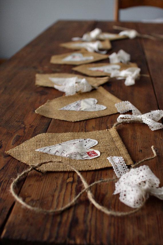Shabby chic heart banner decoration or von littlemaisie for Selfmade wohnideen