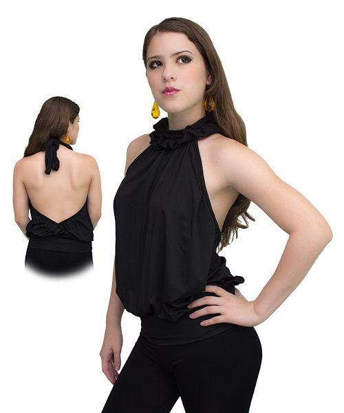 Hermosa blusa negra amarrada al cuello con descote en la espalda. #ropa #moda