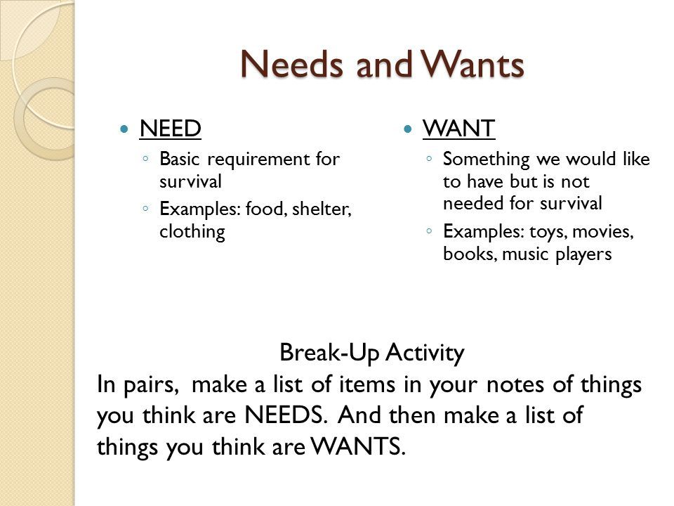 image result for lists of needs and wants