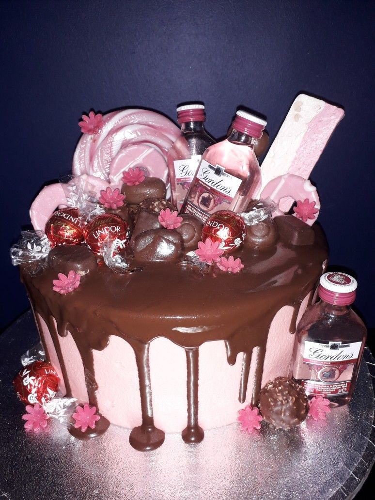 Pink Gin And Chocolate Drippy Cake 21st Birthday Cakes 18th