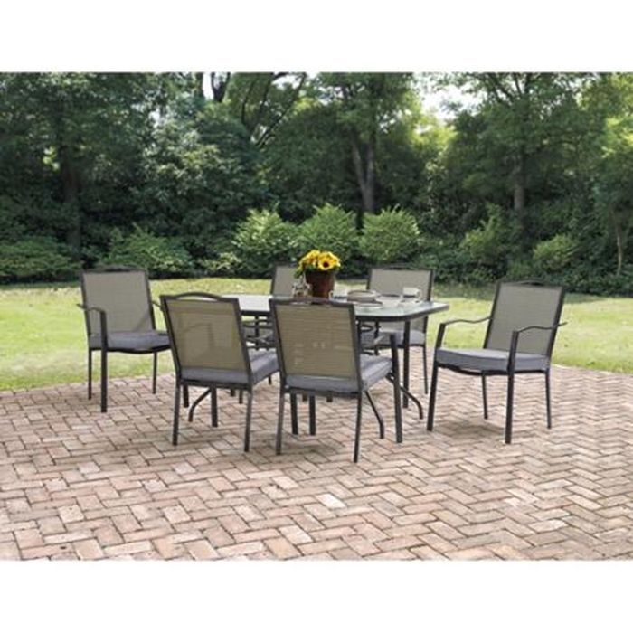 Mainstays Oakmont Meadows 7 Piece Patio Dining Set Pool Seats 6 Furniture Deck