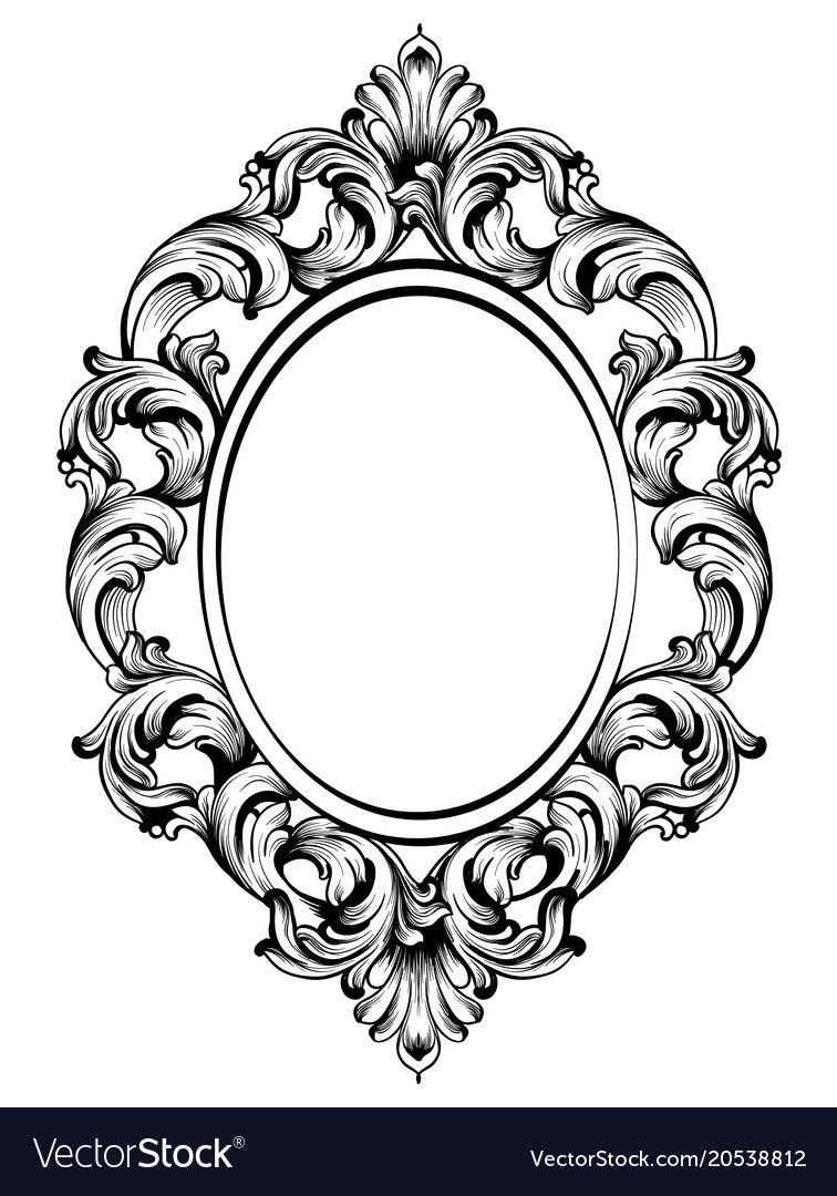 Baroque frame decors. Detailed rich ornament vector ...