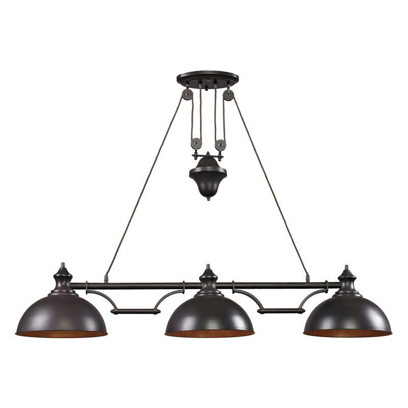 Elk lighting 65151 3 led farmhouse oiled bronze island light