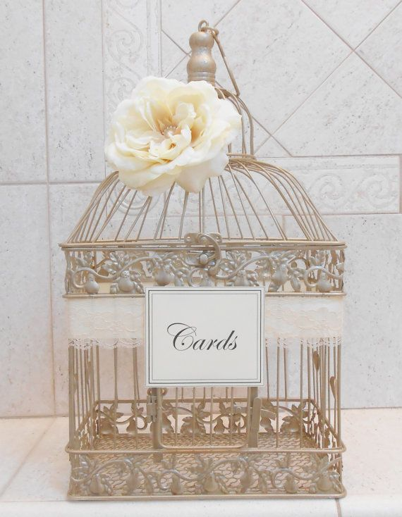 Large Champagne Gold Wedding Birdcage Card Holder By Thosedays Card Box Wedding Unique Wedding Cards Wedding Birdcage
