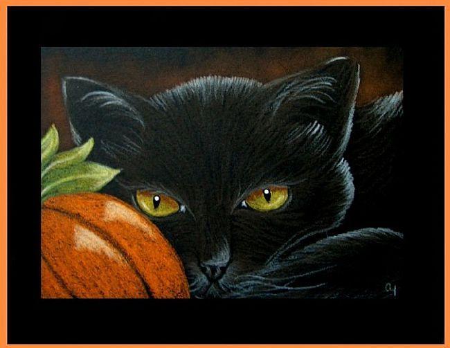 Art: Black Cat 12 - Halloween by Artist Cyra R. Cancel