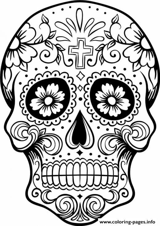 print intricating sugar skull printable for adults coloring pages - Sugar Skull Coloring Pages Print