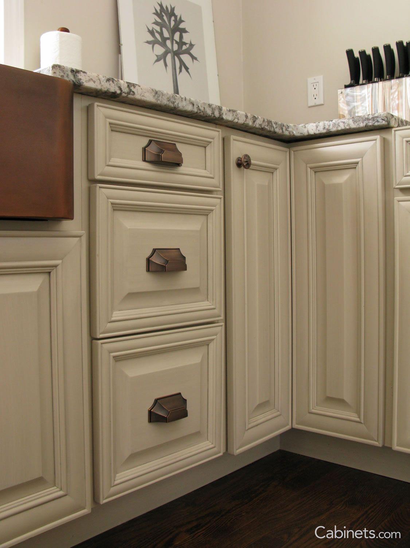 Springfield maple antique white brushed gray glaze kitchen idea in