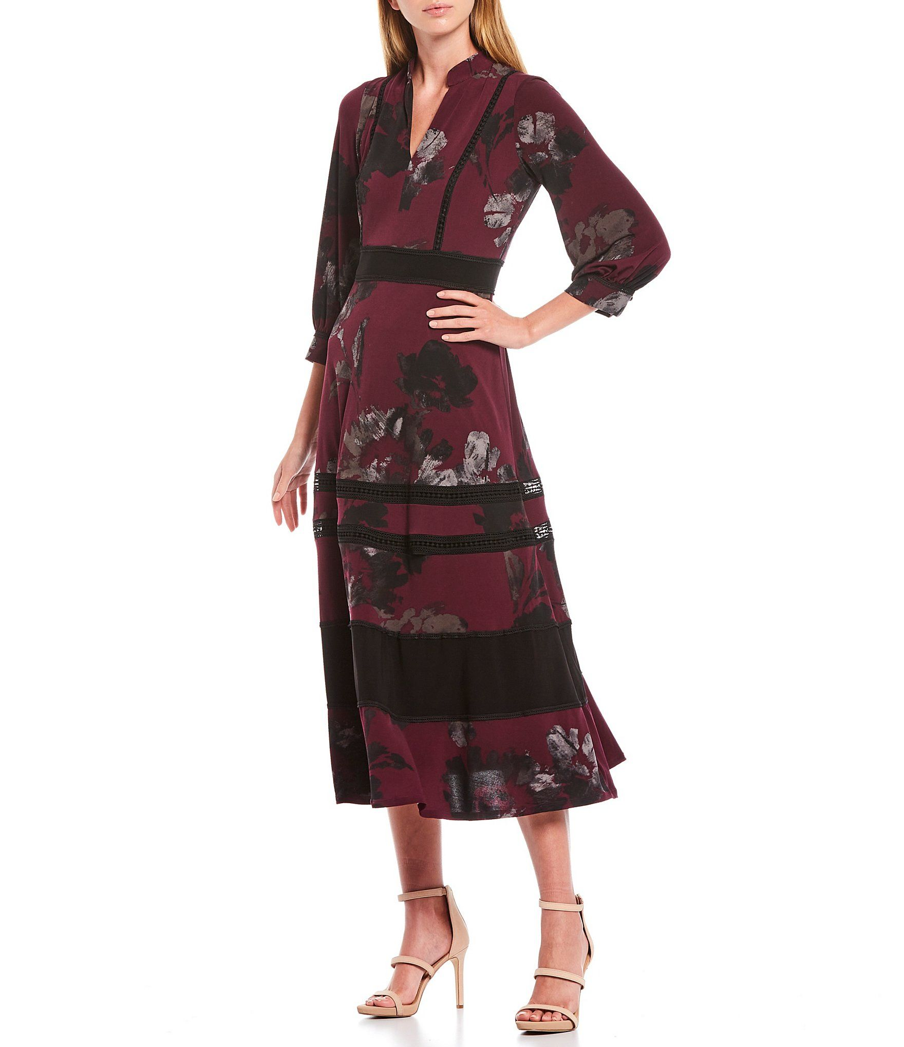 Taylor Floral Print V Neck 3 4 Sleeve Jersey Midi Dress Dillard S In 2020 Midi Dress With Sleeves Dresses Dressy Casual Outfits [ 2040 x 1760 Pixel ]