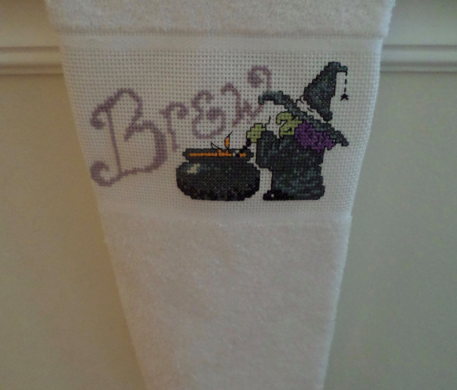 Cross Stitch Witches Brew Kitchen Towel by CrossStitchbyChris on Etsy