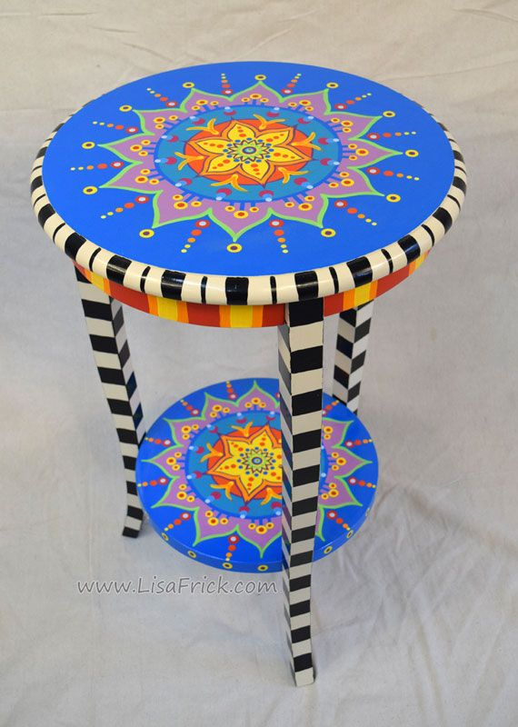 Mandala Side Table Preorder Hand Painted Furniture Lisa Frick Artist Hand Painted Furniture Painted Side Tables Whimsical Painted Furniture