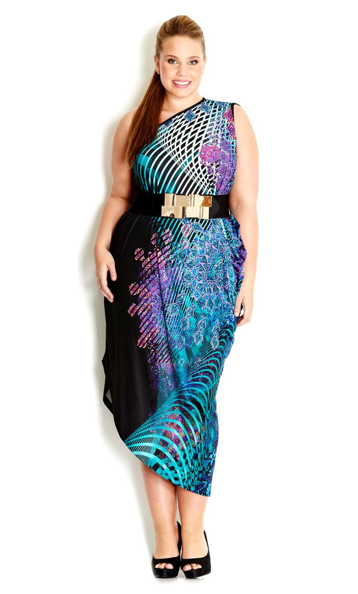 City Chic - PRINTED ONE SHOULDER DRESS - Women\'s plus size fashion ...