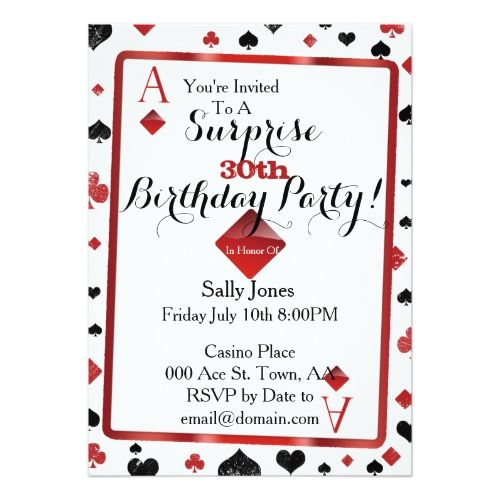 Casino birthday surprise invitation surprise birthday invitations casino birthday surprise invitation stopboris Image collections