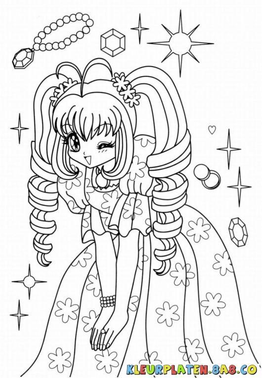 schilderij anime meisje sieraden kleurplaten anime