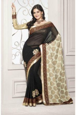 Black & Cream Georgette Designer Saree