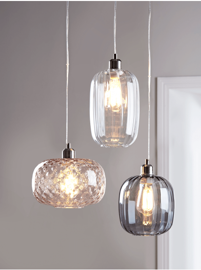 Fluted Glass Pendant - Smoke #pendantlighting