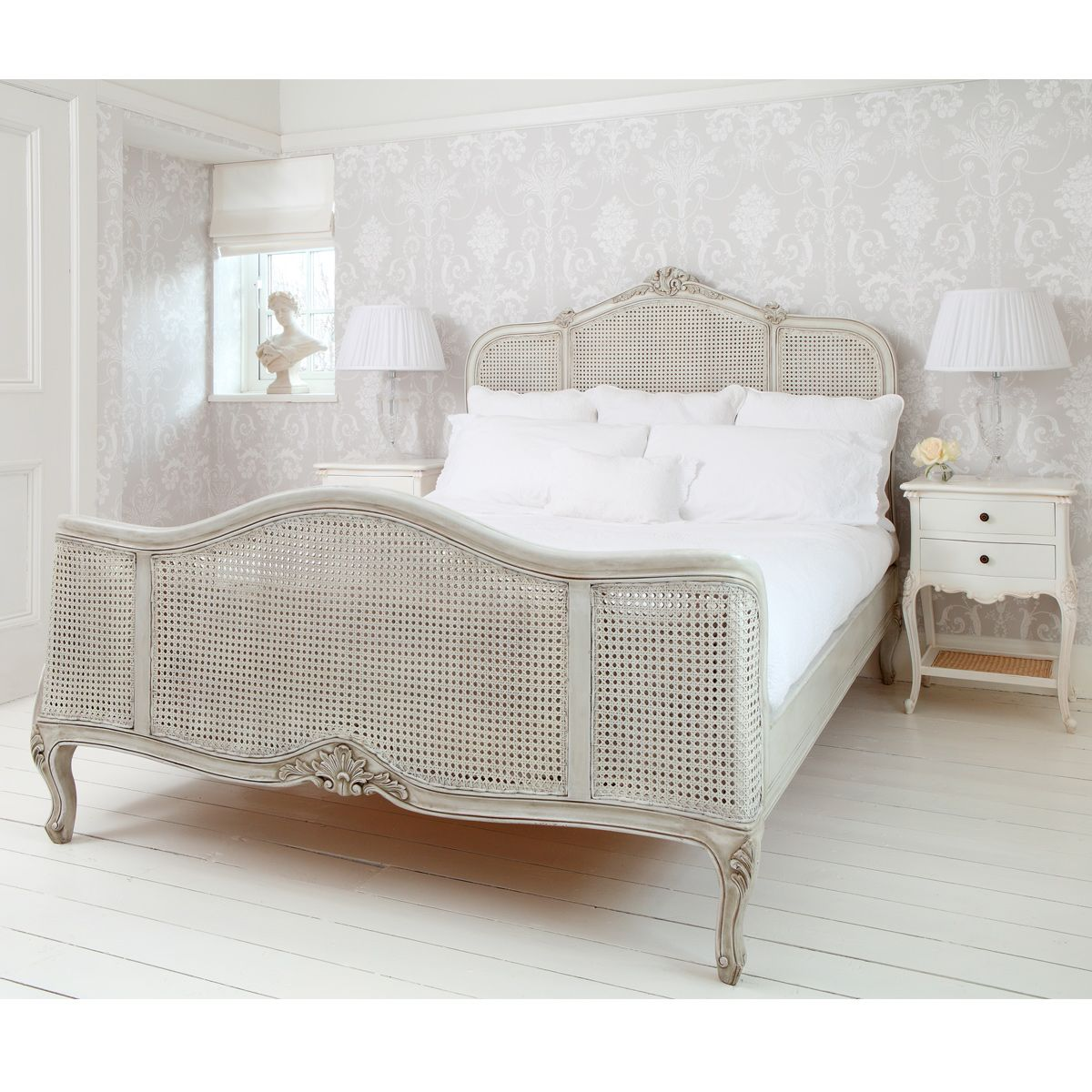 French Bedroom Black And White Teenage Bedroom Wallpaper Uk Wooden Bedroom Blinds Bedroom Oasis Decorating Ideas: French Grey Painted Rattan Bed