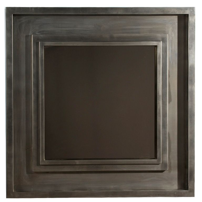 Large Brushed Stainless Steel Square Frame Mirror | Frame mirrors ...