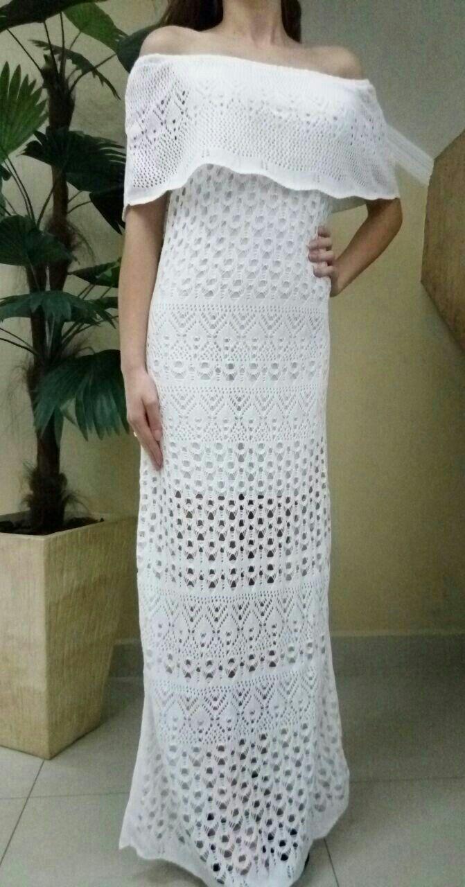 Vestido Tricot Ombro a Ombro Branco Tamanho único R$99,00 ❣Vendas ...