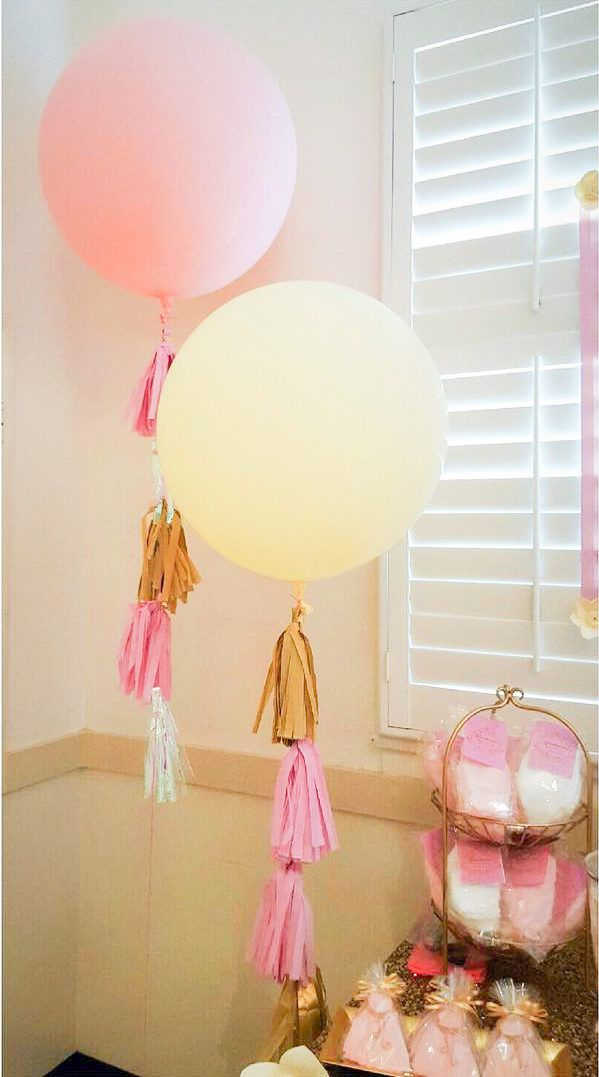 Pink and Yellow Giant Balloons with Tassels