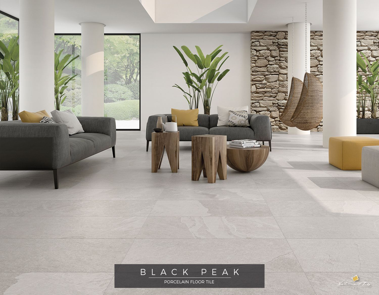 Bright Living Room With Structured Natural Stone Look Porcelain Tile Wooden Stools And Side Table Grey Sofas W Bright Living Room Living Room Designs Argenta