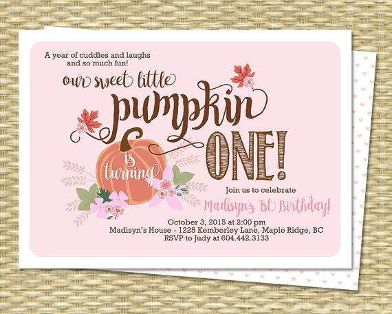 Our Little Pumpkin Birthday Invitation First By