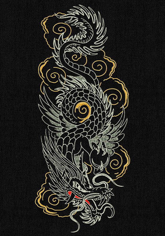 345355eed1a Dragons Backstitch style embroidery designs pack  1 (collection of 4 ...