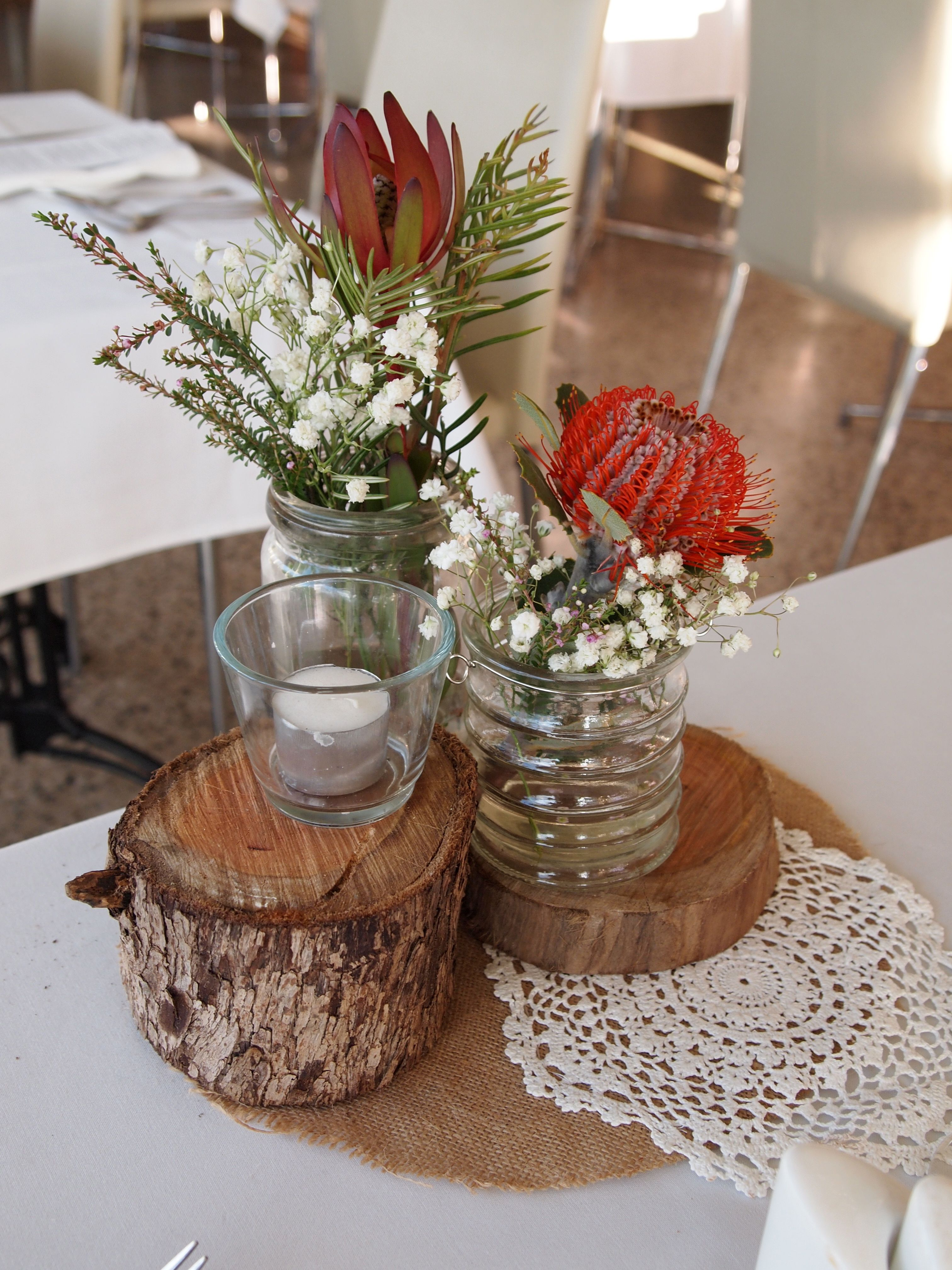 Rustic stumps as wedding centrepieces with australia native rustic stumps as wedding centrepieces with australia native flowers junglespirit Gallery