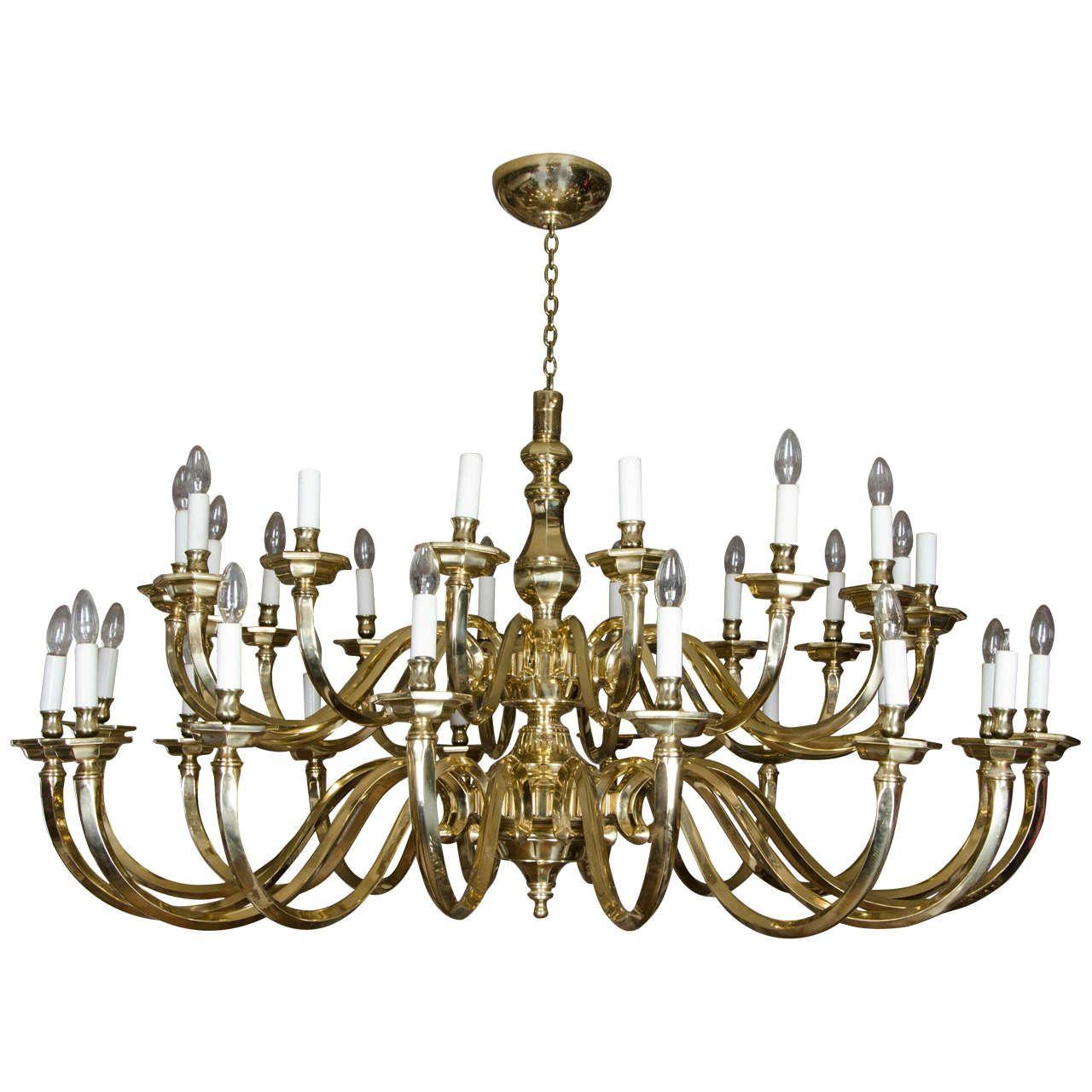 Large Dutch Baroque Style ThirtyTwo Light Brass Chandelier – Large Brass Chandelier