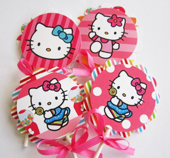 Hello Kitty Sweet Shop Cupcake Toppers by outsidetheboxdessert, $12.00