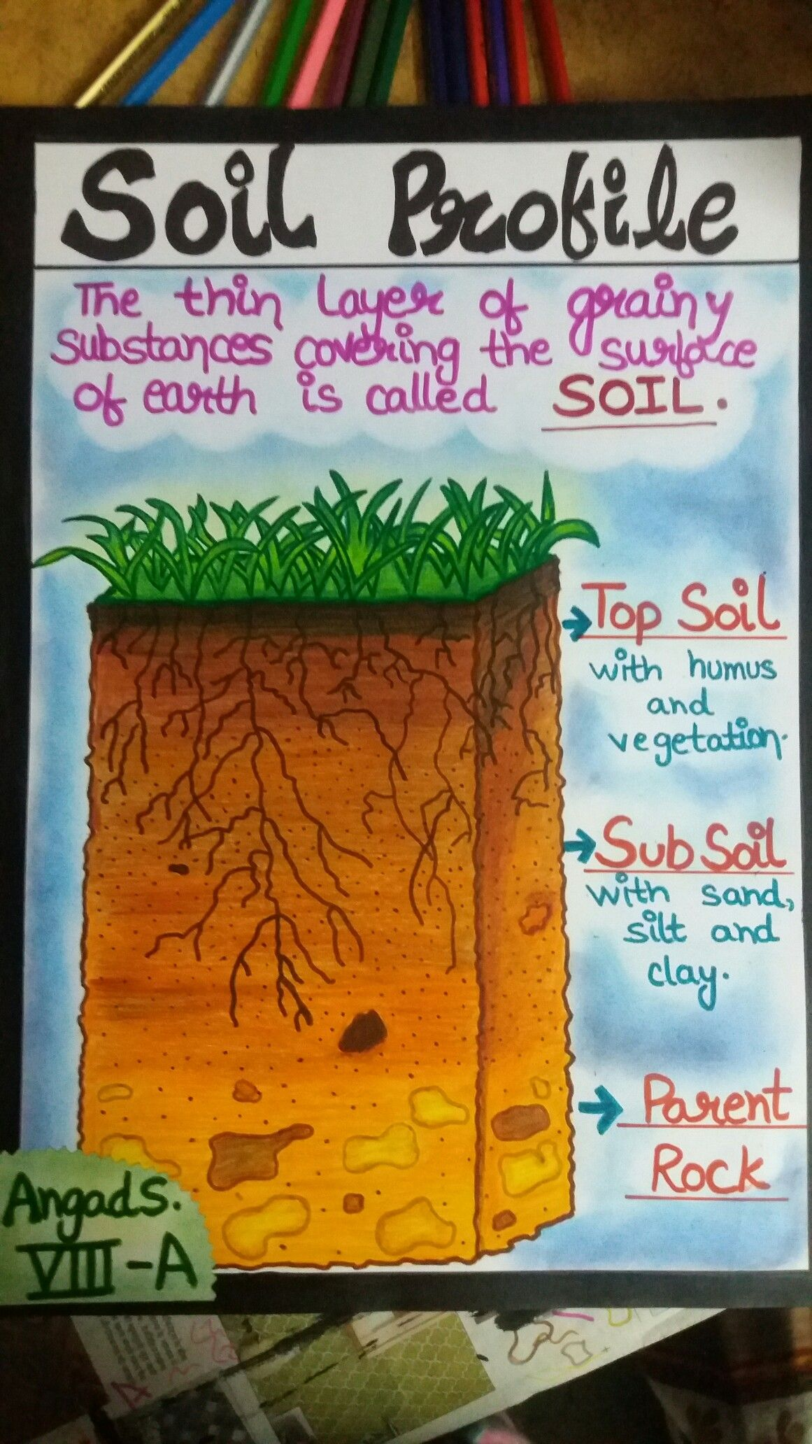 soil profile pencil colour and dry pastels dry pastels school projects profile  [ 1161 x 2064 Pixel ]