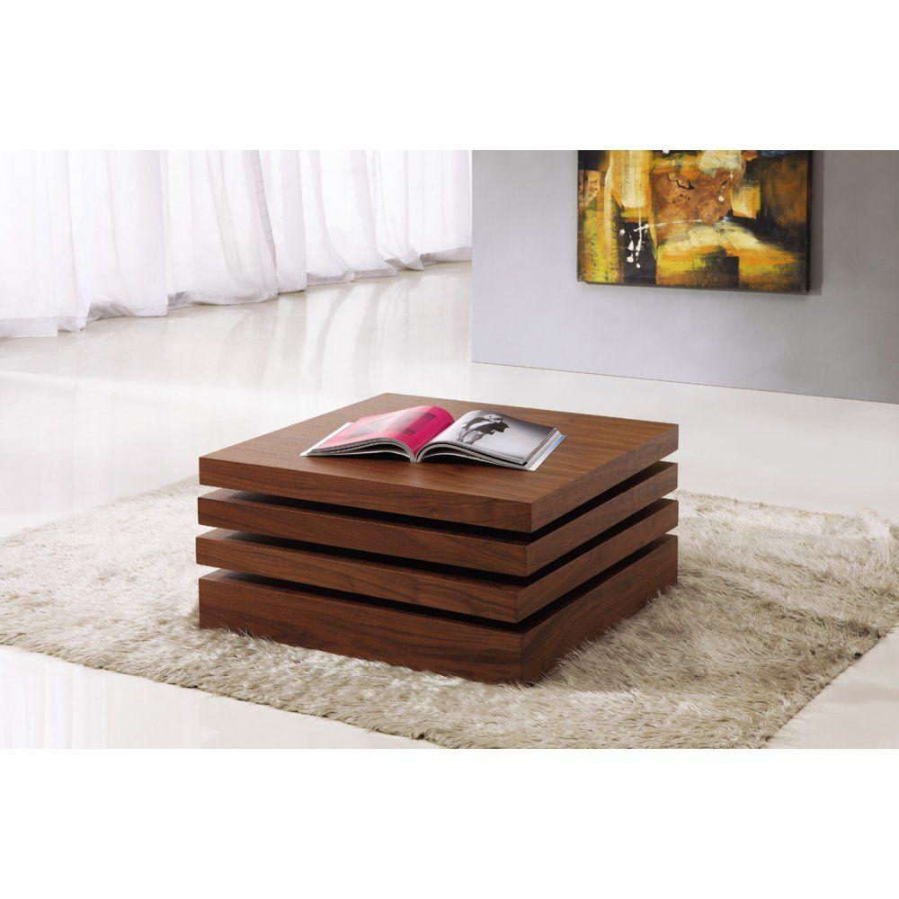 Design Coffee Table Rotating In White High Gloss With 3: Giomani Designs Kyra Walnut Rotating Coffee Table. High