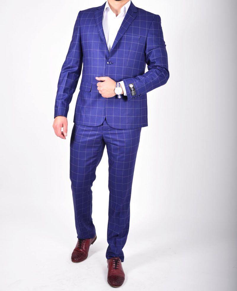 o noua sosire calitate superioară cel mai bun loc costum barbati slim fit albastru carouri 2 | Ținute, Casual, Fit