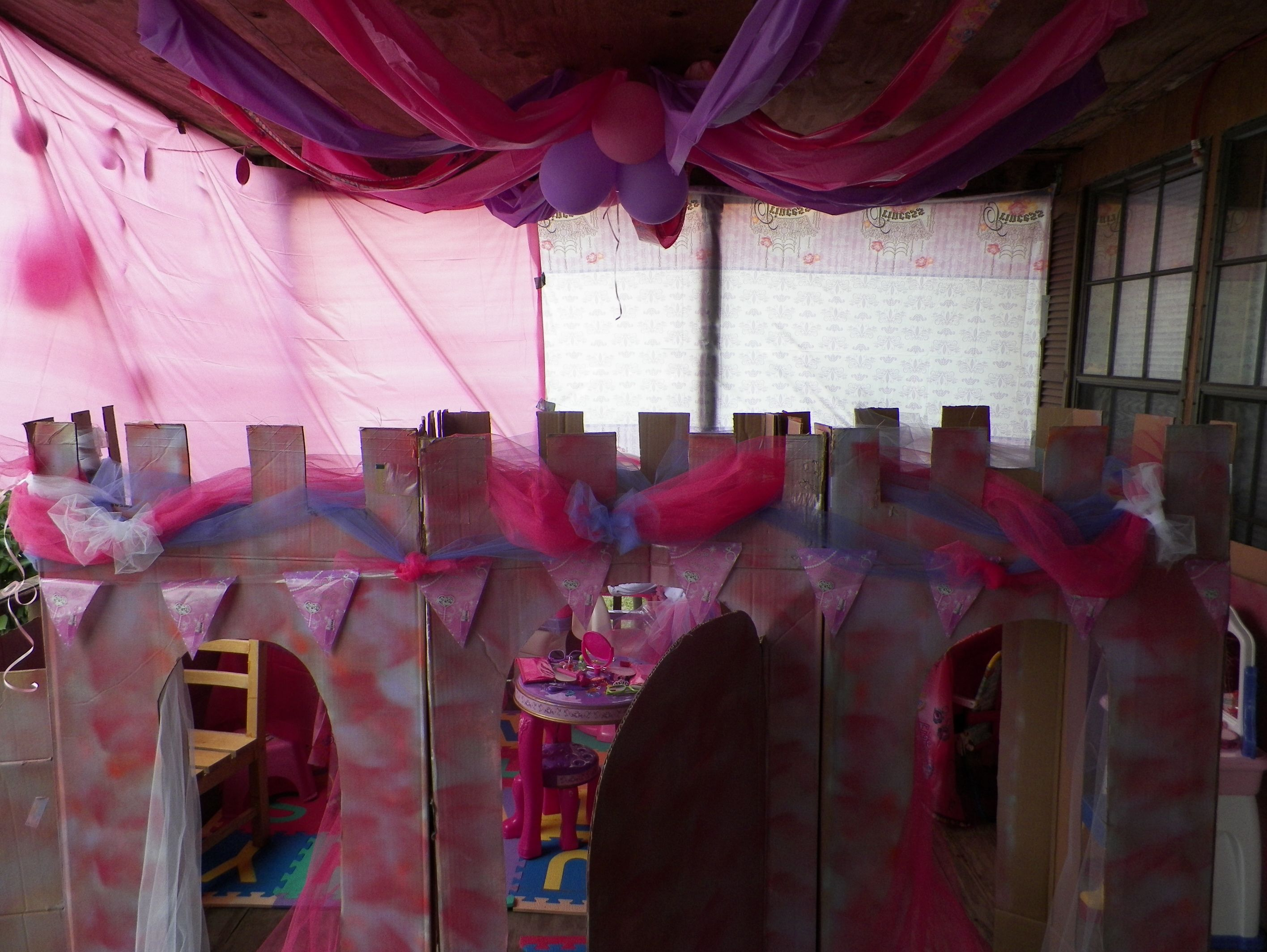 diy princess party decor. castle made out of cardboard, spray