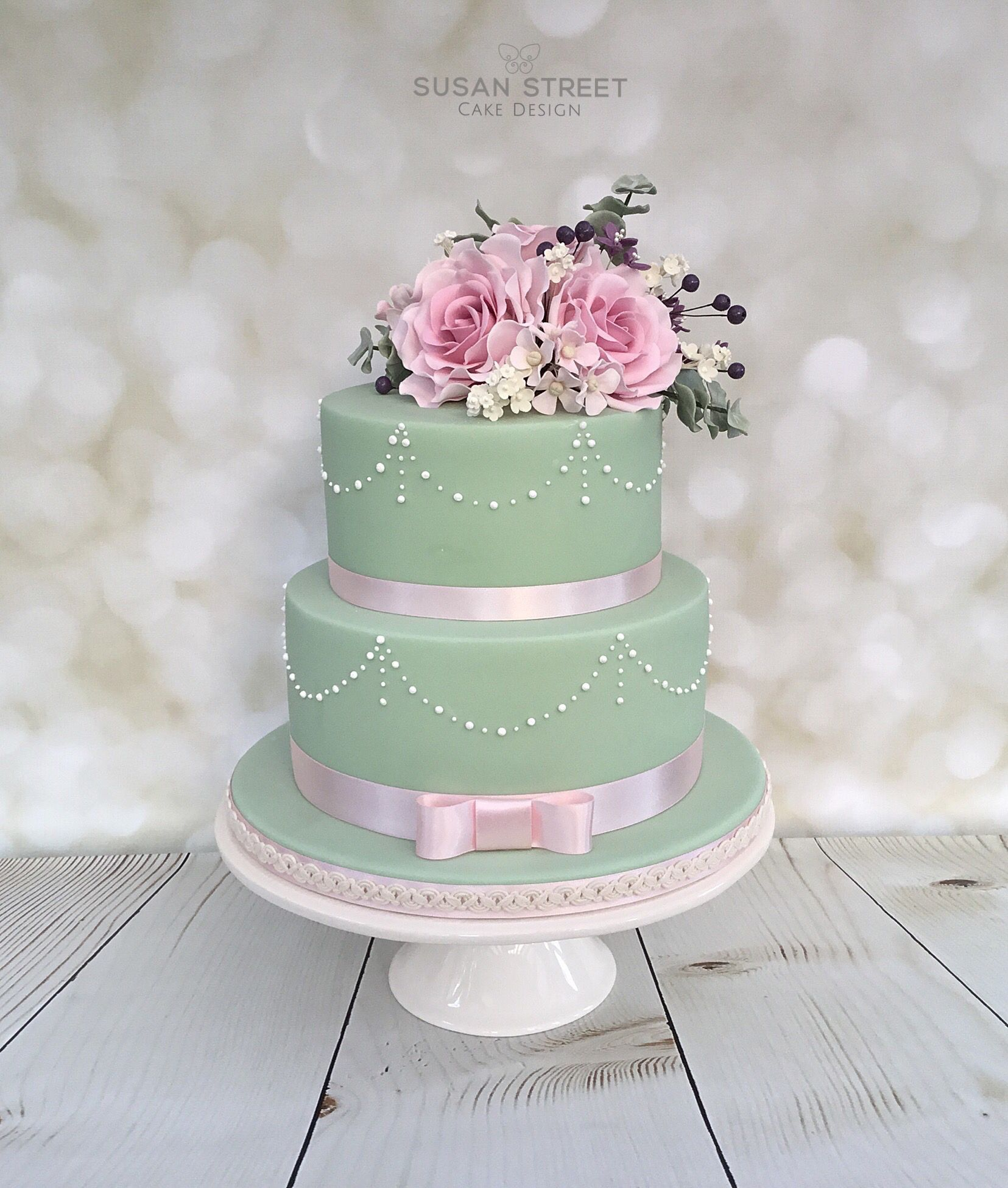 Vintage style two tier birthday cake.