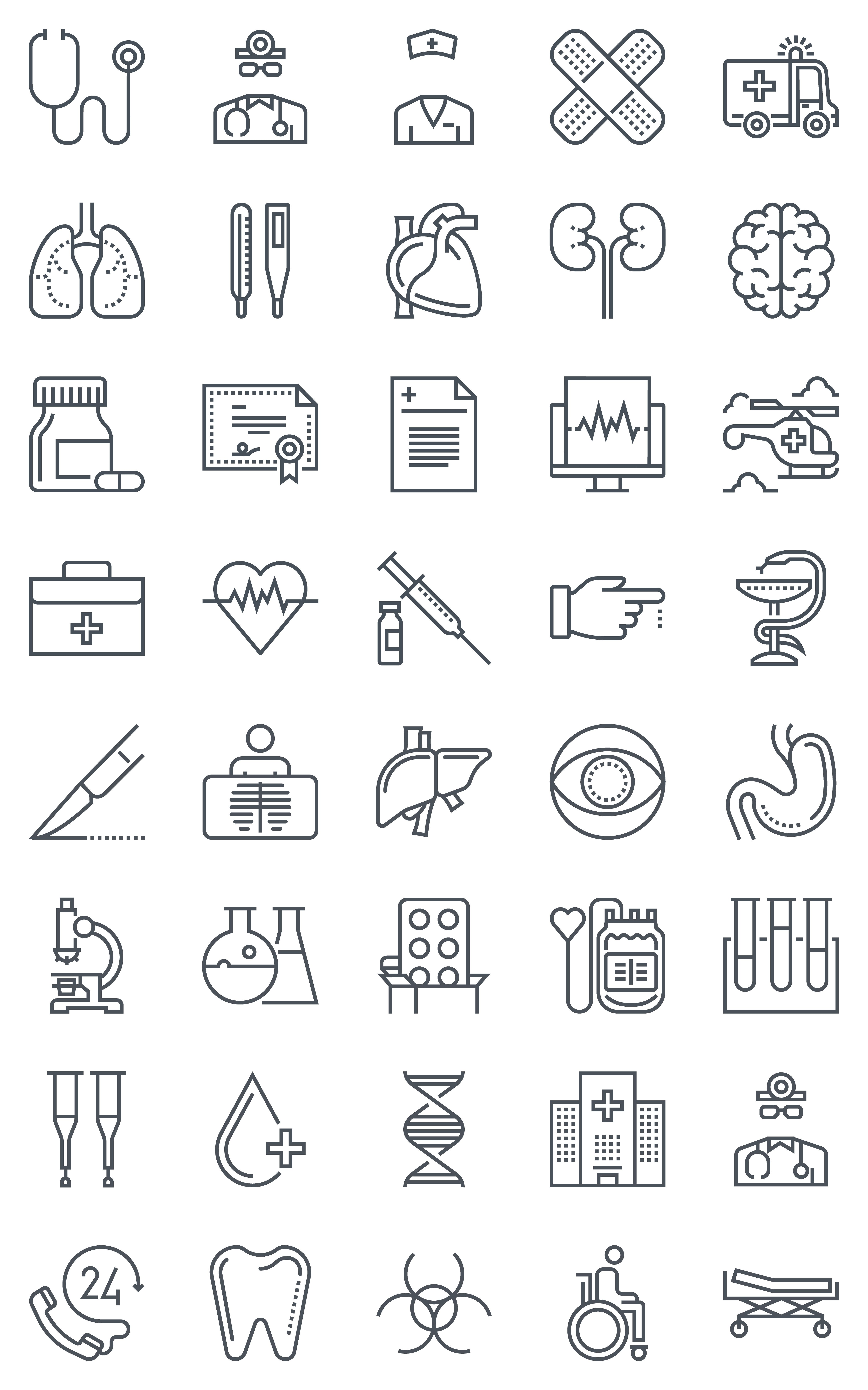 40 Hospital, health icons by howcolour on Creative Market | Chang ...