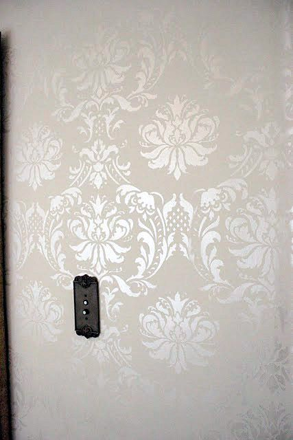 Damask wall on pinterest wall painting stencils damask - Wall painting stencils for living room ...
