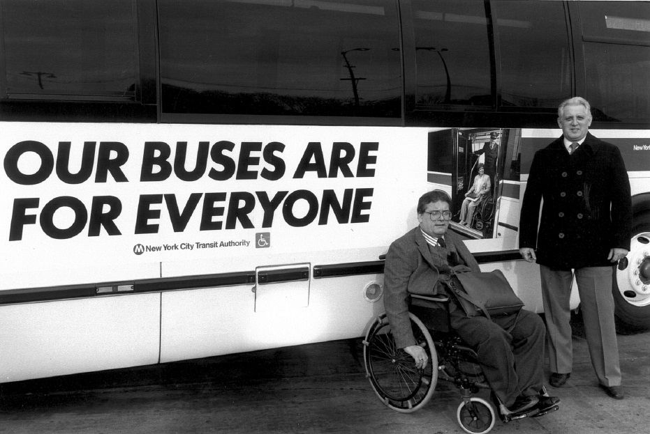 Here's a throwback. Our very own Terry Moakley (left) around the time we were advocating to make every bus in NYC wheelchair accessible. We've come a long way!