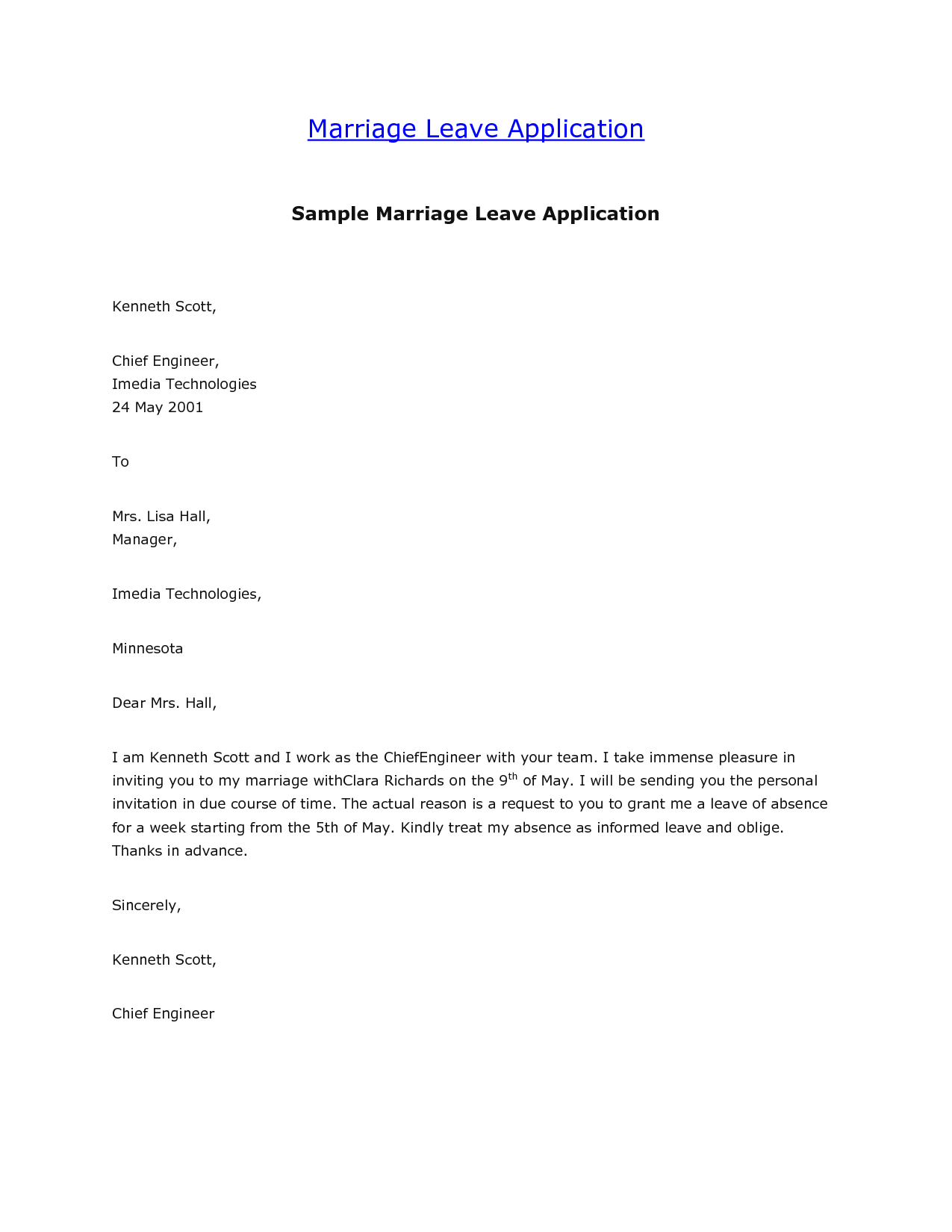 Marriage Leave Letter Format Best Template Collection Application