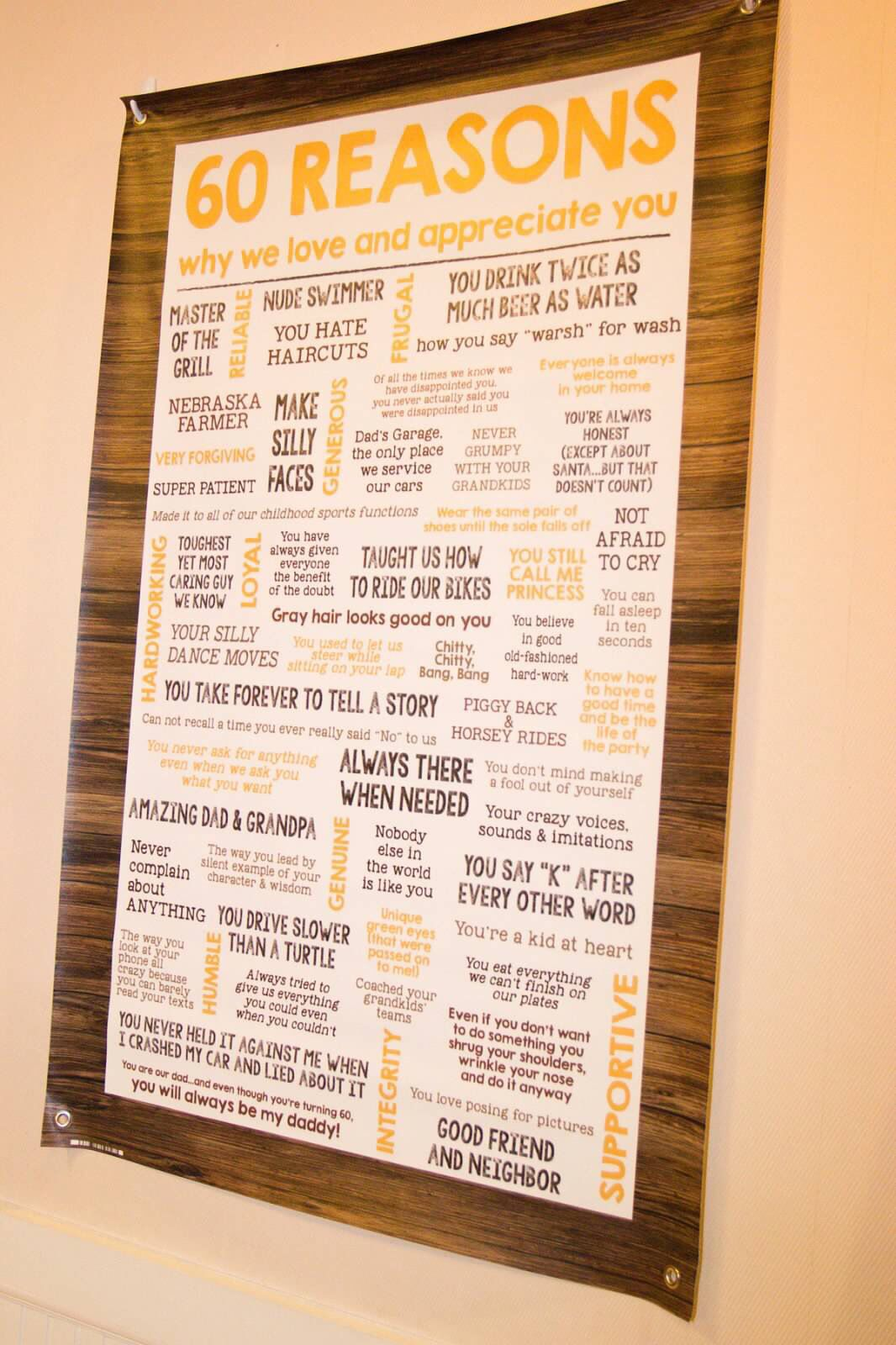 Rustic 60th Birthday Party 60 Reasons Why We Love You Banner Posh N Chic Prints Was The Event Planner