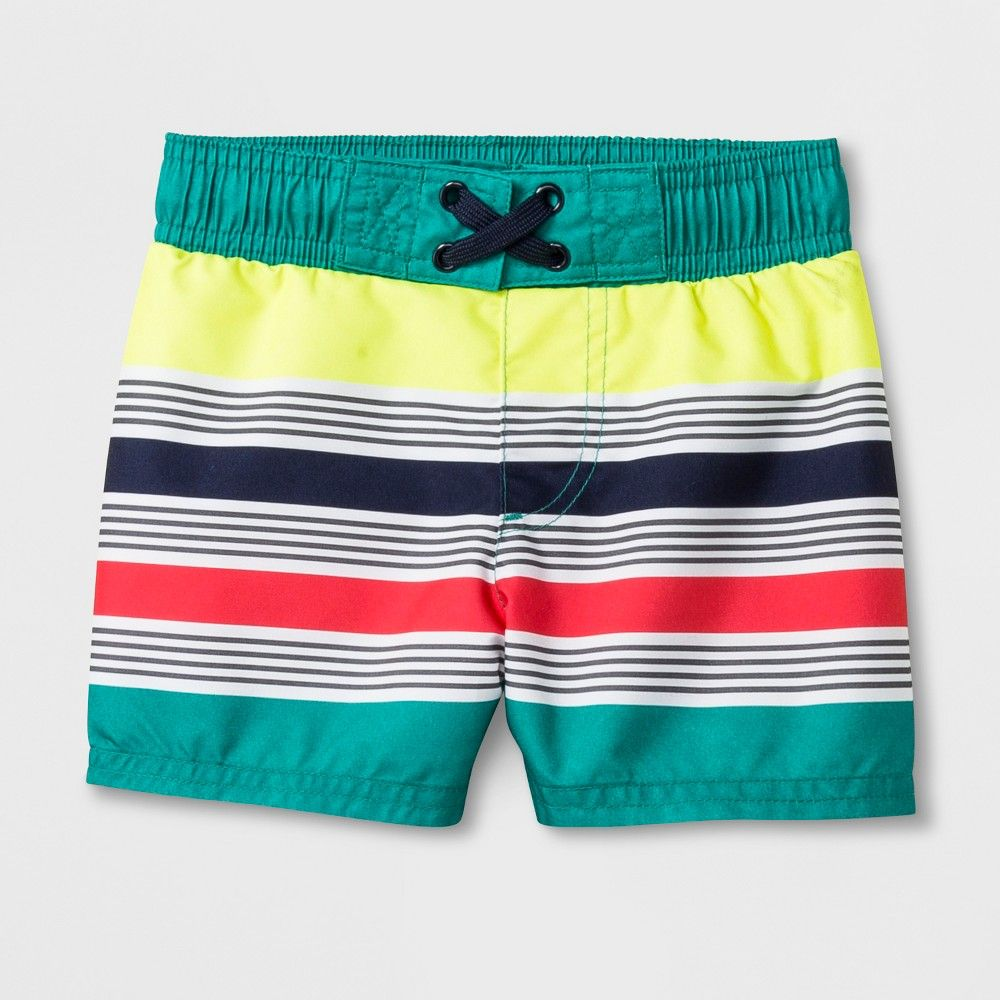 470badeee7a67 Baby Boys' Striped Swim Trunks - Cat & Jack Turquoise 18M, Blue ...