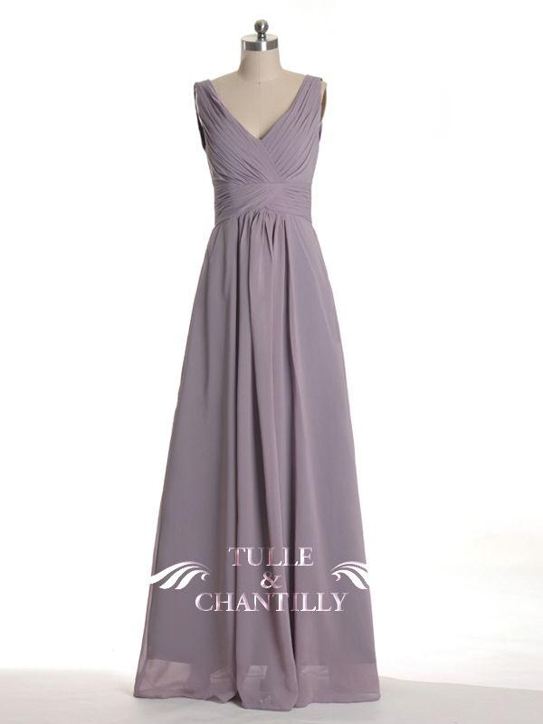 Long Mauve V-neck Chiffon Bridesmaid Gown TBQP198 | Brautjungfernkleider