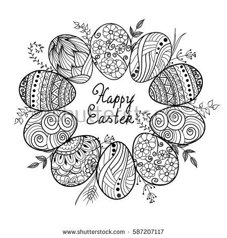 Photo of Easter wreath Easter eggs hand drawn stock vector (royalty free) 378090982