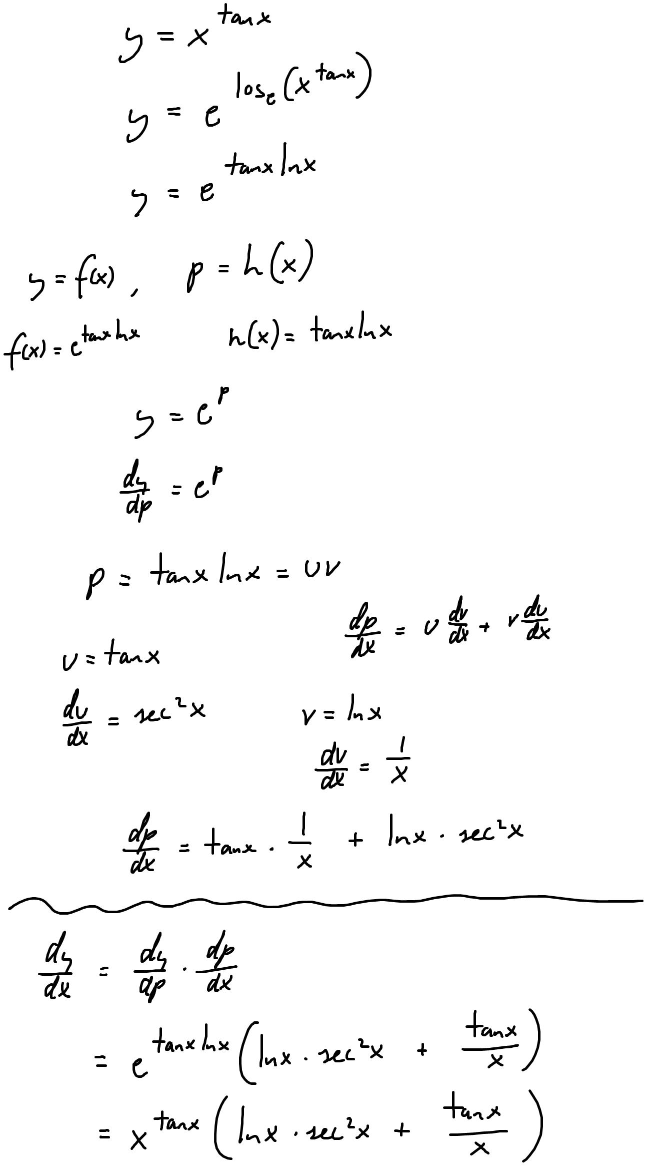Derivative of x^(tanx)