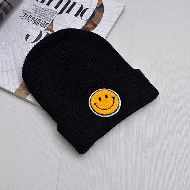 ed02c49b422 Smiley Face Beanie Cotton Acrylic Winter Embroidered Smiling Face Warm  Knitted Black Cuffed Skully Hat