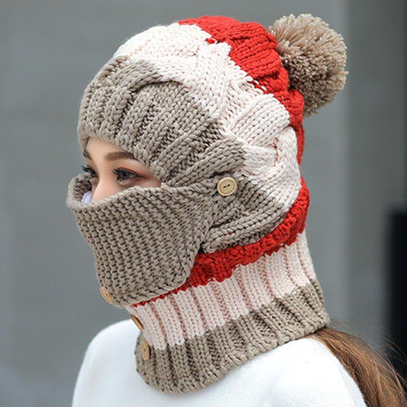 c4c07d388d6 Women Winter Windproof Warm Plus Velvet Knit Hat Scarf Set with Face Mask  Thicken Ski Earmuffs Cap