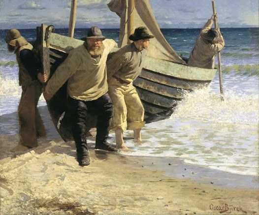 Men launching a dingy painting