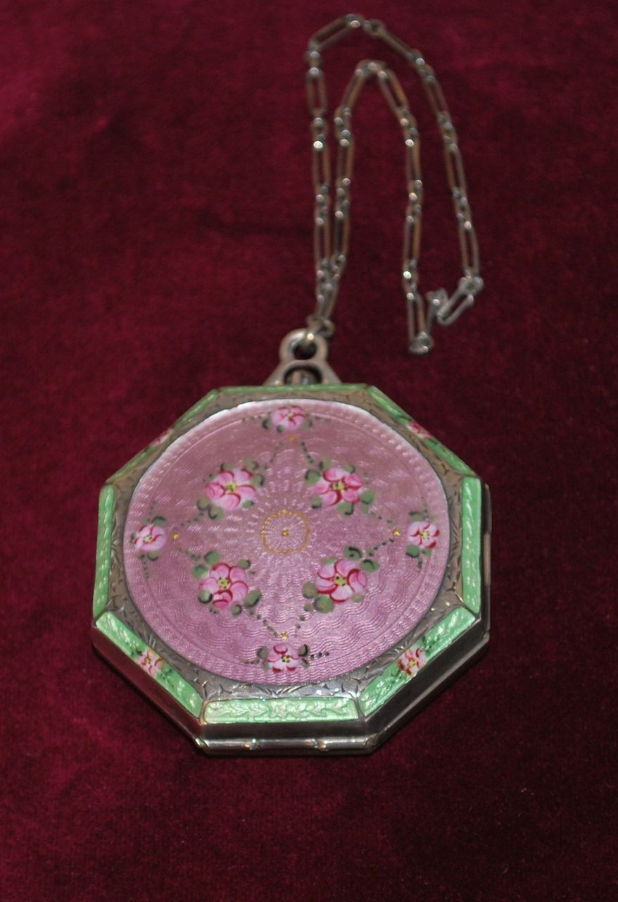 Guilloche Enamel Sterling Compact Dance Purse