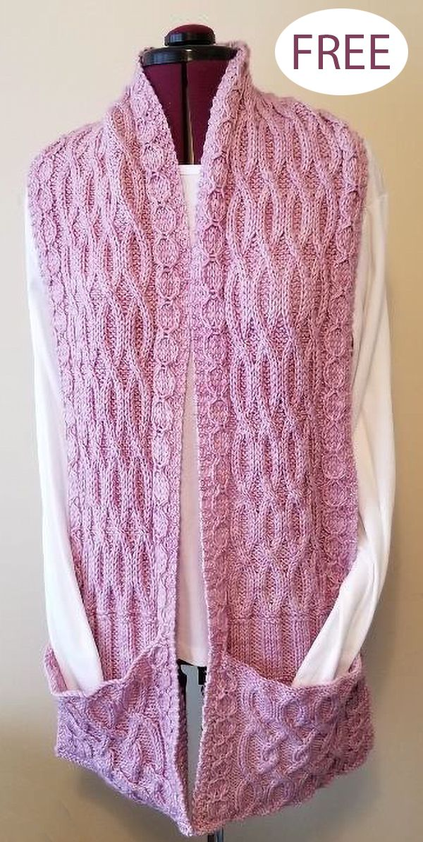 Photo of Free Knitting Pattern for Lazy Cable Pocket Scarf