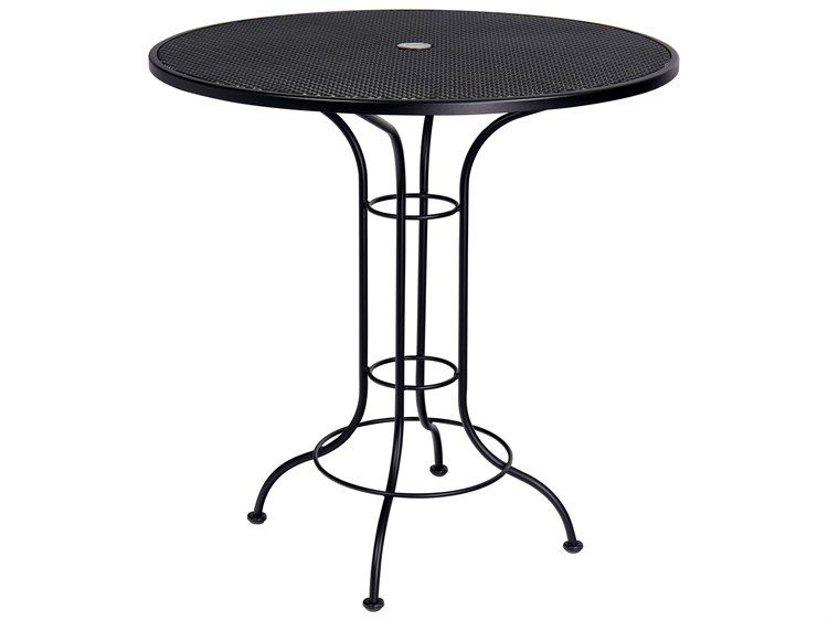 Woodard Aurora Wrought Iron 42 Round Mesh Top Bar Height Table