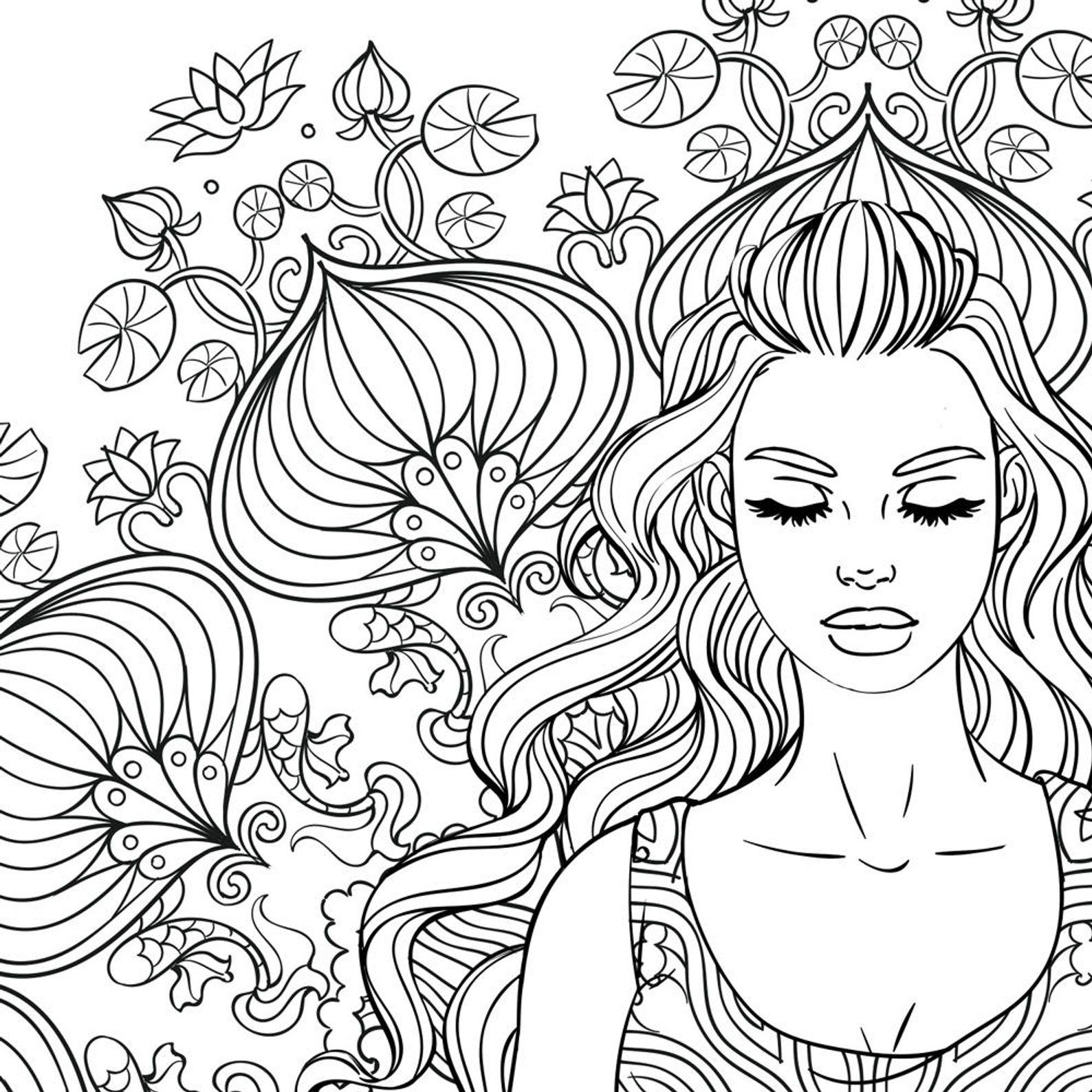 Adult Coloring Page Mandala Girl   Adult coloring page ...
